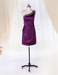 One Shoulder Satin Dress With Beaded Detail, Short Eggplant Prom Dress
