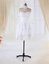 Show details for White Knee Length Graduation Dresses, Short Strapless Layered Dress