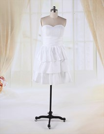White Knee Length Graduation Dresses, Short Strapless Layered Dress