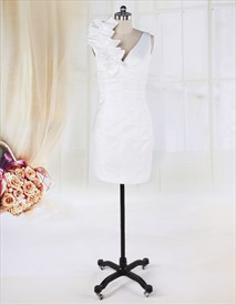 White Graduation Dress For High School, Short White Dress With Flowers