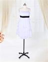 Show details for White Chiffon Dress With Black Sash,Short White Chiffon Cocktail Dress