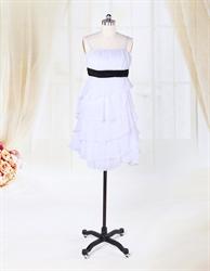 White Chiffon Dress With Black Sash,Short White Chiffon Cocktail Dress