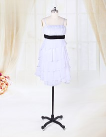 White Chiffon Dress With Black Sash,Short White Chiffon Cocktail Dress