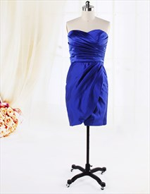 Short Ruched Sapphire Blue Dress, Satin Strapless Gown With Side-Drape