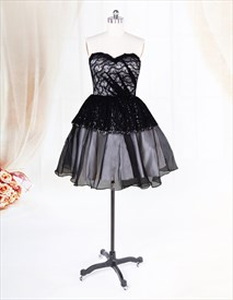 Black Lace Party Dresses Uk, Sweetheart Short Organza Prom Dress