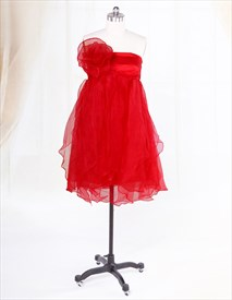 Short Strapless Organza Dress, Short Empire Waist Layered Ruffle Dress