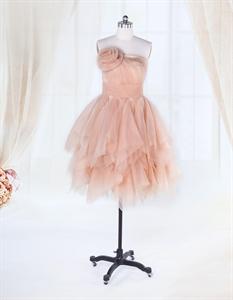 Short Ruffle Cocktail Dress,Short Strapless Dress Organza Ruffle Skirt