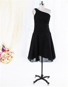 One Shoulder Chiffon Bridesmaid Dresses, Black Chiffon Cocktail Dress