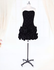 Strapless Black Taffeta Bubble Homecoming Dresses With Handmade Flower