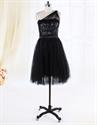 Show details for One Shoulder Black Cocktail Dresses, Knee Length Sequin Cocktail Dress