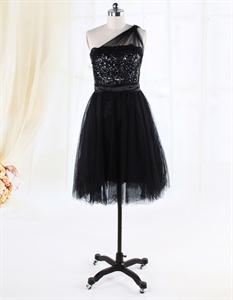 One Shoulder Black Cocktail Dresses, Knee Length Sequin Cocktail Dress