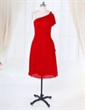 Show details for One Shoulder Red Pleated Knee Length Chiffon Homecoming Cocktail Dress