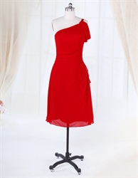 One Shoulder Red Pleated Knee Length Chiffon Homecoming Cocktail Dress
