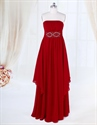 Show details for Burgundy Ruffle Front Chiffon Dress, Strapless Long Chiffon Prom Dress