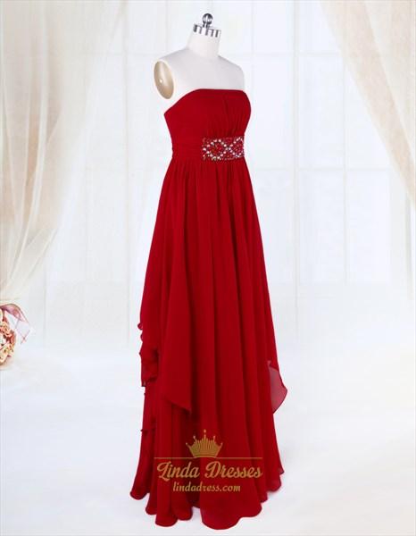 Burgundy Ruffle Front Chiffon Dress, Strapless Long Chiffon Prom Dress