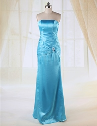 Long Strapless Aqua Prom Dress, Floor Length Empire Waist Prom Dresses