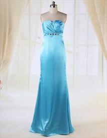 Aqua Blue Strapless Prom Dress,Strapless Floor Length Bridesmaid Dress