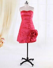 Hot Pink Strapless Cocktail Dress, Short Strapless Empire Waist Dress