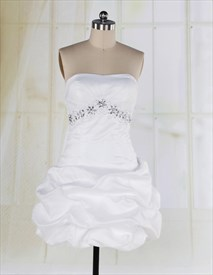 White Empire Waist Short Dress Taffeta Strapless Bubble Cocktail Dress
