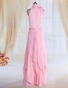 Show details for Pink Ruffle Prom Dresses Beaded A-Line High Neck Chiffon Evening Dress