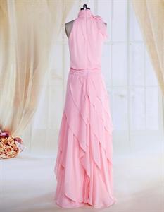 Pink Ruffle Prom Dresses Beaded A-Line High Neck Chiffon Evening Dress