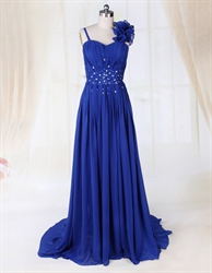 Royal Blue Long Prom Dress, Chiffon A-Line Floor-Length Evening Dress