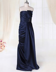 Navy Blue Strapless Evening Gown, Floor Length Strapless Ruched Gown