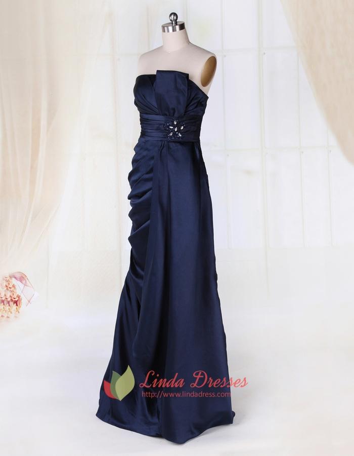 Navy Blue Strapless Evening Gown, Floor Length Strapless ...