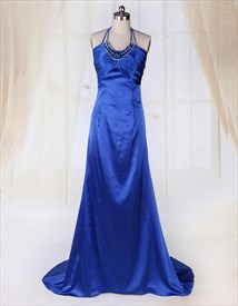 Sapphire Blue A-Line Empire Waist Halter Beaded Long Evening Dresses
