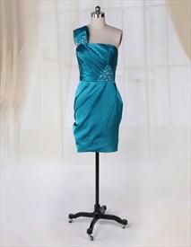 Teal Green Cocktail Dresses One Shoulder Side Drape Short Prom Dresses