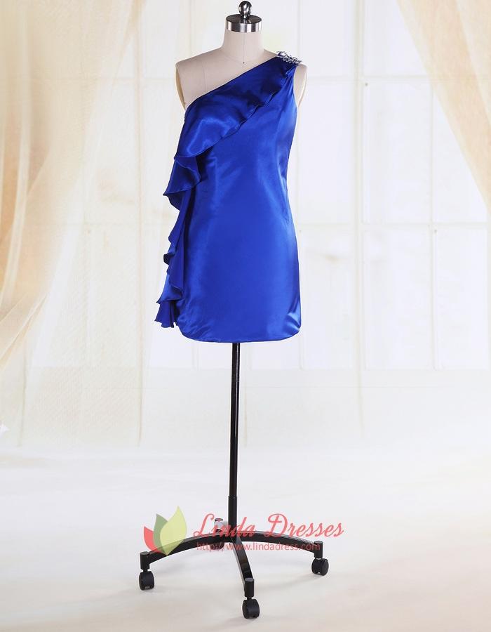 Ruffle One Shoulder Cocktail Dress Royal Blue Short Formal Dresses
