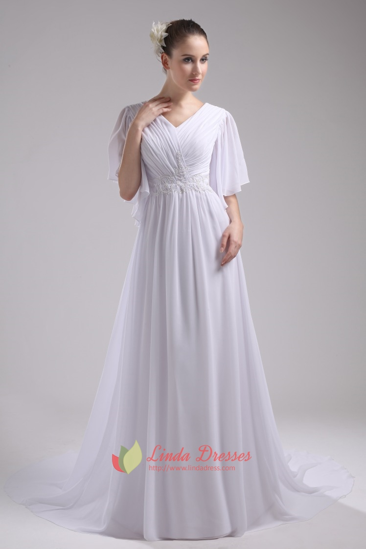 Floor Length Chiffon White V Neck Evening Dresses With
