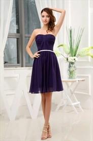 Short Purple Bridesmaid Dresses Under 100,Purple Cocktail Dress Strapless For Juniors