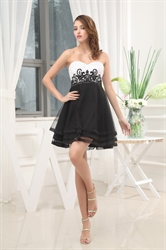 Black And White Dresses For Women,Black And White Cocktail Dress With Lace For Prom Night