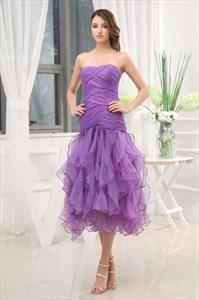 Short Purple Prom Dresses UK 2021,Purple Ruffle Prom Dress