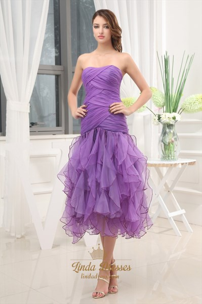 Short Purple Prom Dresses UK 2019,Purple Ruffle Prom Dress