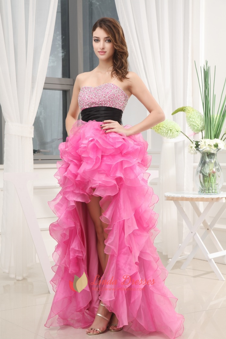 Cute Hot Pink High Low Prom Dresses With Diamonds,Hot Pink High Low ...