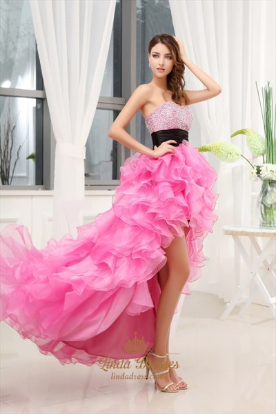 Cute Pink Tulle Lace High Low Prom Dress Short Off ...