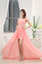 Pale Pink High Low Prom Dress,Blush Pink High Low Dress With Sheer Overlay