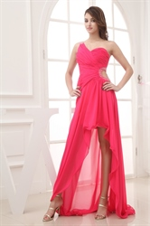 Hot Pink One Shoulder High Low Prom Dresses,Hot Pink Dresses For Women