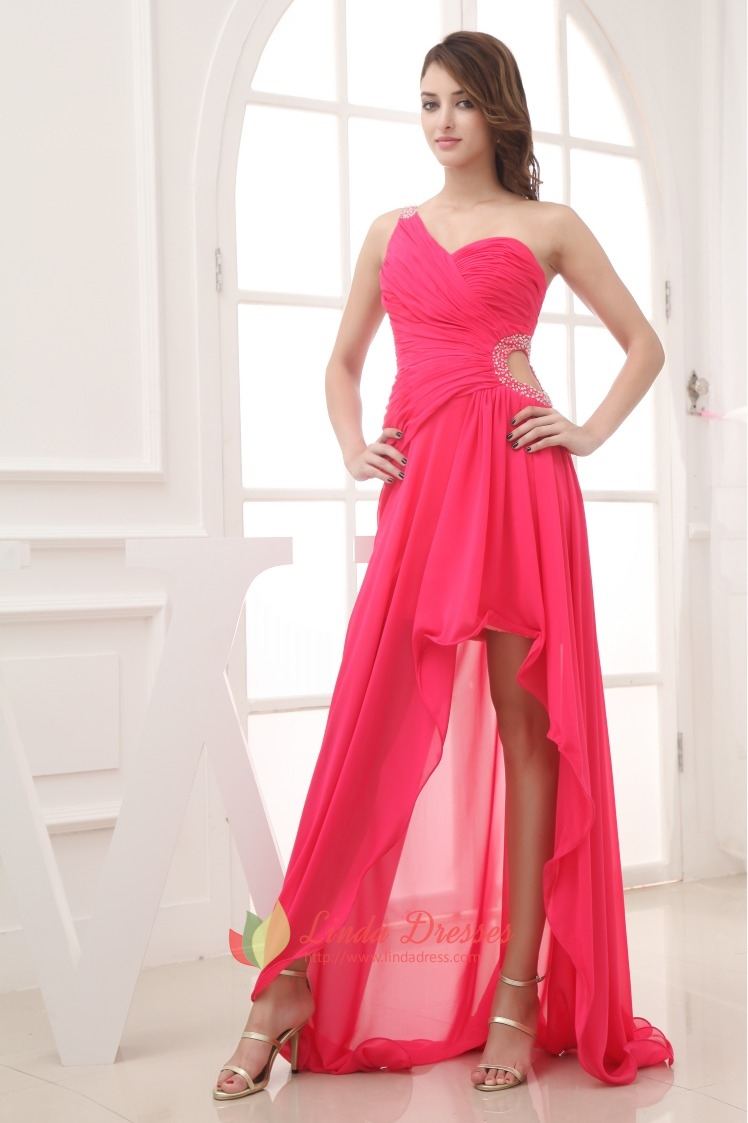 Hot Pink One Shoulder High Low Prom Dresses,Hot Pink Dresses For ...