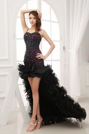 High Low Dresses Strapless With Ruffles For Girls,Front Short Back Long Dress Casual
