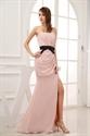 Show details for Pink Prom Dress With Black Sash,Blush Pink Long Evening Dresses With Side Split