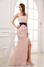 Pink Prom Dress With Black Sash,Blush Pink Long Evening Dresses With Side Split