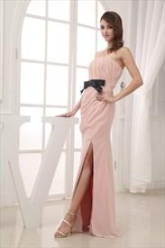 c9ba9eae843d9 Pink Prom Dress With Black Sash,Blush Pink Long Evening Dresses With Side  Split