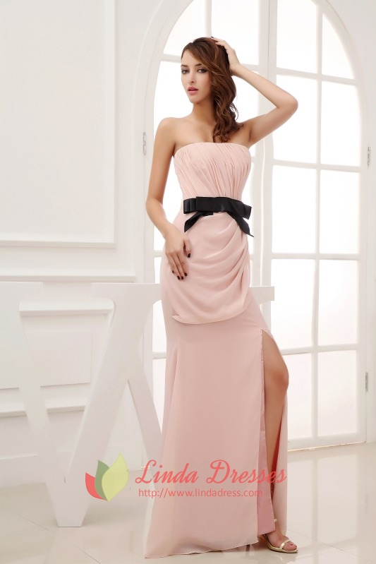 Pink Prom Dress with Black Bows