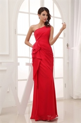 Red One Shoulder Prom Dress With Sash Ribbon,One Shoulder Red Evening Gowns
