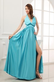 Light Sky Blue Dress With Side Slits,Sky Blue Dresses For Prom
