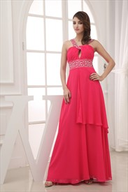 Hot Pink Cross Neckline Prom Dresses With Straps,Fuschia Dress UK