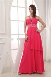 Hot Pink Cross Neckline Prom Dresses With Straps,Fuschia Dress UK